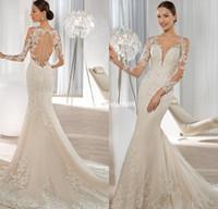Cheap Elegant Long Sleeve Sheath Wedding Dresses 2015 Lace Applique Sequined Illusion Beach Bridal Gowns Demetrios Bride Vestidos Dress