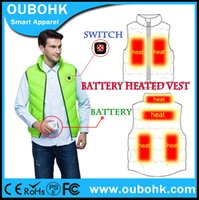 battery heating pad - Fall Battery Heated Vest New Upgrade Pads Heating Dress Winter Waistcoat With Adjustable Rechargeable Battery OUBOHK