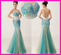 Wholesale SSJ Fashionable Multicolor Vienna Mermaid Prom Dresses Sexy Criss Cross Backless Lustrous Dress Beads Sequins Long Luxury Party Gowns