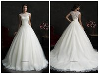 Cheap 2015 Wedding Dresses Amelia Sposa Monica Scalloped Sleeveless Cap Ivory Lace Tulle Court Train Wedding Gowns Buttons Applique Beaded