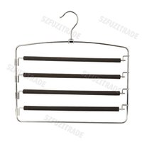 Wholesale New Practical Multi Purpose Layers Pants Hanger Trousers Tie Rack Space Saving Clothes Hangers Racks