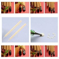 nails for wood - Nail art Tool Wood Handle Nail Art Design Dotting Pen for Painting Manicure Decoration Dual Ball Double Point Pencil