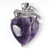 Pendant Necklaces amethyst heart stone - 10X Charm Beautiful Amethyst Blue Turquoise Heart Bead Natural Stone Ribbon Pendant Accessories Silver Plated European Fashion Jewelry