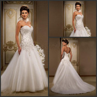 drop waist - Wedding Dresses with Beaded Embroidery Sweetheart Low Back Dropped Waist Court Train Ruffled Tulle Bridal Gowns A Line Wedding Dress