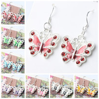 Wholesale 22x37 mm Colors Enamel Butterfly Rhinestone Charm Pendant Earrings Silver Fish Ear Hook Jewelry E1559