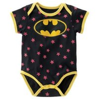 Cheap Retail 2015 New Summer Superman Batman Baby Boys Girls Rompers Cool Star Spots Newborn Clothes Short Sleeve Triangle Jumpsuit