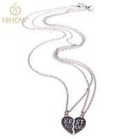 best background patterns - Fashionable bump black pattern background unisex necklace BEST FRIEND series broken heart necklace Simple generous unisex causal necklace