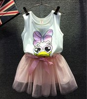 Wholesale Hot Sale New Summer Girls Daisy Donald Duck Suits new printing Sleeveless T shirt Lace Short skirt baby clothes