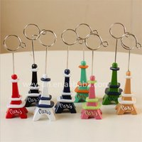 Wholesale DHL Freeshipping Paris Eiffel Tower Card Stand Of Metal Clip Paper Clamp Bookmark Note holder Stationery Christmas Gift