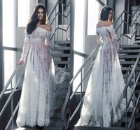 Cheap Sexy 2016 See Through Lace A Line Bohemian Wedding Dress Beach Long Sleeves Off Shoulder illusion Bridal Gowns