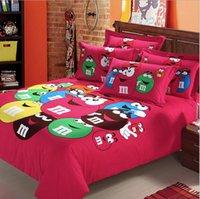 Wholesale Cotton Bedding sets home textile M M S Chocolate cartoon Upscale full cotton thicker Sanding Four piece suit Bedding Supplie for kids