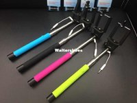 Wholesale Extendable Wired drive by wire Self Selfie Stick portable Camera Monopod Tripod Holder For iphone samsung mobile cell phone
