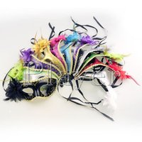 Wholesale Women Sexy Hallowmas Venetian mask masquerade masks with flower feather mask dance party mask