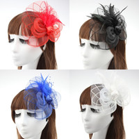 beige hair bow - 2016 New Cheap Classic Feathers Bow Hair Accessories Fascinator Red Blue Black White Bridal Hats For Wedding Party Christmas Face Veils BH01