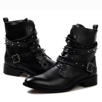 Wholesale Cool Fashion Quality Leather Motorcycle Ankle Boots Mens Punk Rock Shoes With Spike Rivet Studded Buckle Strap Lace Up Zip Spring Autumn New