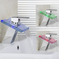 Wholesale Bathroom Sink Faucet Color Changing LED Waterfall High Quality Brass Faucet Chrome Finish