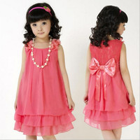 5T-6T big bow necklace - Teenger Girls Dress Summer New Arrival Big Children Chiffon Princess Dresses With Necklace Youth Kids Clothing Dress RT29
