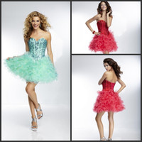 Cheap Hot Sale Rhinestone 2015 Homecoming Dresses Cascading Ruffle Organza Short Party Dress Prom Gowns Corset Lace-Up Back Red Or Green Cheap