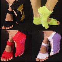 Wholesale 8 Colors Sport Socks Half Toe Ankle Grip Yoga Pilates Socks Five Toes No Slip Cotton Socks