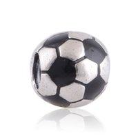soccer jewelry - 100 Sterling Silver Soccer Ball Sports with Black Enamel Bead Fits European Pandora Jewelry Charm Bracelets