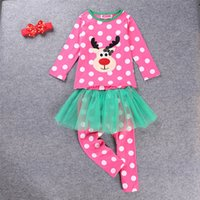 Cheap 20pcs lot SamgamiBaby Christmas long sleeve Cotton Fawm printed t-shirt +polka mesh pants hairbands outfits in stock Autumn for Baby
