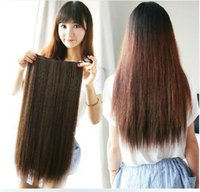 Wholesale Fashion Long Women Hair Extensions Straight Synthetic Clip Brown L04022