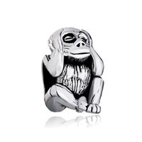 Wholesale DIY Jewelry Animal Theme Beads Silver Meditation Monkey Charms Fit Pandora Style Big Hole Beads Bracelets