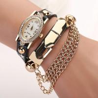 chain metal dress - 2015 Women ladies bracelets leather quartz dress watches fashion metal chain full diamond crystal dial dress retro vine watches for women