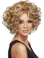 blonde wigs short hair - Lady s Hair Wig Synthetic Brown Yellow Short Wavy Hair Wigs Human Full Lace Wigs S30172