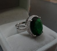 Wholesale 2014 Newest European gemstone ring fashion rings for cocktail Emerald ring wedding ring silver rings