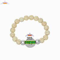Wholesale Natural stone bracelet New Fashion Snap Bracelet Strecthable Light Coffee Beads Bracelet for Women Fit Snap Button Charm bracelets for women