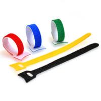 achat en gros de liens de boucle de fil-10x Nylon Sticky Attaches de Câble Wire Strap cordon Wrap Fixation Organizer Management Magic Sticky Auto-Adhesive Crochets Loops Tape