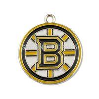 beads boston - 30pcs a Metal Enamel Hockey Team Logo Round Letter B Boston Bruins Charms
