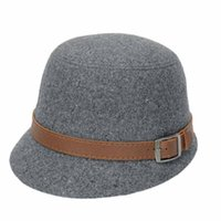 Wholesale Durable Hot Summer Style Fashion Solid Color Women Belt Buckle Bowler Fedora Hat Fast Shipping