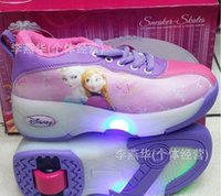 Wholesale Frozen Roller Shoes Inline Roller Skates Ice Skates Toys Frozen Shoes Sneakers Frozen Flip Flops For Girls New dhl Christmas gift B234