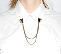 Wholesale Punk Rock Spike Stud Shirt Collar Chain Neck Tip Clip Gothic Pin Brooch