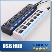 Wholesale USB HUB usb Power Strip ports socket LED Light UP Concentrator with Switch for laptop mouse keyboard charger for Iphone Samsung