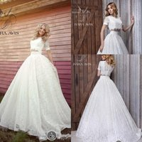 two piece wedding dress - Fashionest New Two pieces A Line Wedding Dresses Empire Wasit Sexy Bridal Gowns Lace Appliques Brides Dress with Crew Neck Short Sleeves