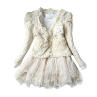 Wholesale 2016 Spring Winter Kids Girls Knit Sweater Dresses Baby girl tulle lace TUTU Winter princess jumper pullover dress