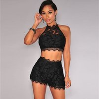 Wholesale Newest Summer Style Women Two Piece Outfits Shorts Night Party Club Sexy Rompers For Women Cropped Top Lace Jumpsuit FG1511