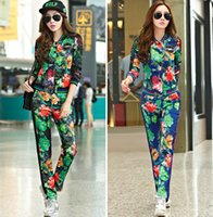 wholesale sports jackets - Women And Big Girls Good Quality Set Girls Long Sleeve Flower Printed Jacket Top With Pant Sport Outfits