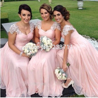 adult zip line - Baby Pink Bridesmaid Dresses Lace Beads Long Prom Party Gowns A Line Sweetheart Neck Zip Back Floor Length Chiffon Fabric