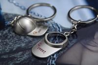 baseball cap holders - New Desigh Baseball Cap Mandy Sweet Couple Key Chain Key Chain Key Pendant Couple Keyfob Zinc Alloy sports trinket