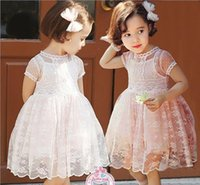Wholesale 2015 In stock Fashion Princess Children Baby Girl short Sleeve lace flowers Party tutu Dresses FXQ541