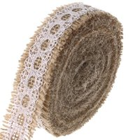 Wholesale Burlap Ribbon with Lace cmx5m Natural Gift Wrapping Rustic Wedding Decorations Hessian Roll