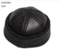 Wholesale HL014 NEW mens Beanie Black Sheepskin Shearling Fur Hat Real Leather Warm