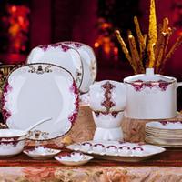 square dinnerware - Dinnerware set bone china tableware ceramics fashion square plate dish bowl set