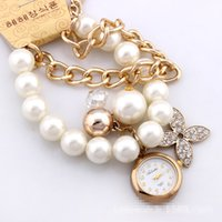 Wholesale 50pcs Fashion Women Rose Gold Bracelet Quartz Watches Lady Big Girls Alloy Four Leaf Rhinstone Pearl Watch Christmas Gift Wristwatches H1586