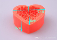 Wholesale retail D Silicone Rose flower cake mold heart shape chocolate candy cake Molds Soap Ice rose cake mold for valentine s day gift