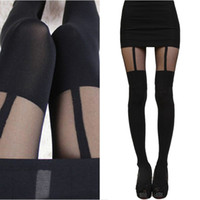Wholesale Socks Temptation - New Fashion Women Temptation Sheer Mock Suspender Tights Pantyhose Stockings